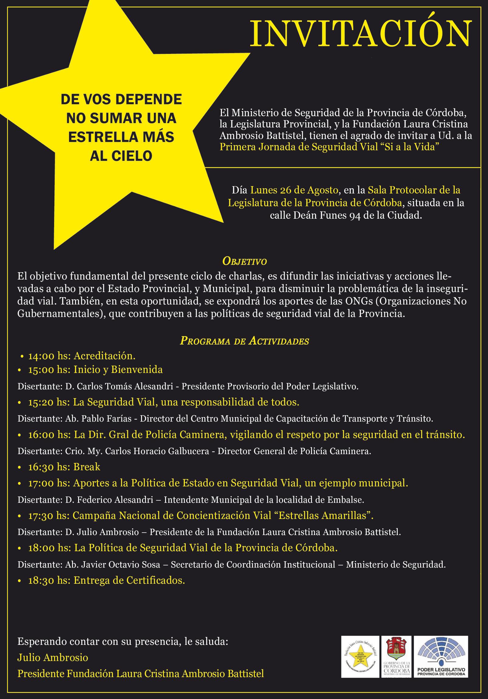 Volante - 1era Jornada de Concientización Vial - Cordoba