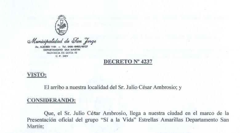San Jorge, Santa Fe me declararon «CIUDADANO DE HONOR» – Grupo 474